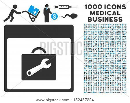 Blue And Gray Toolbox Calendar Page vector icon with 1000 medical business pictograms. Set style is flat bicolor symbols, blue and gray colors, white background.