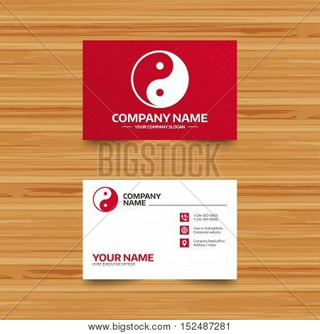 Business card template. Ying yang sign icon. Harmony and balance symbol. Phone, globe and pointer icons. Visiting card design. Vector