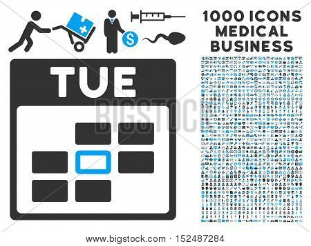 Blue And Gray Tuesday Calendar Grid vector icon with 1000 medical business pictograms. Set style is flat bicolor symbols, blue and gray colors, white background.