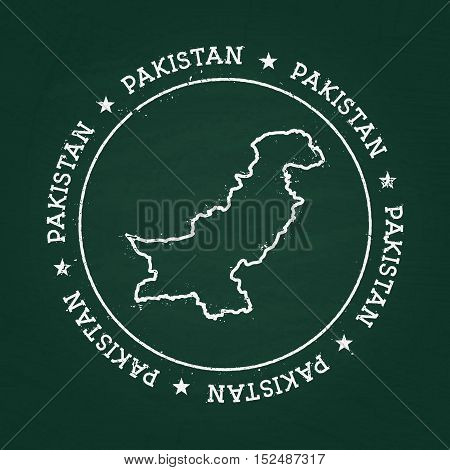 White Chalk Texture Rubber Seal With Islamic Republic Of Pakistan Map On A Green Blackboard. Grunge
