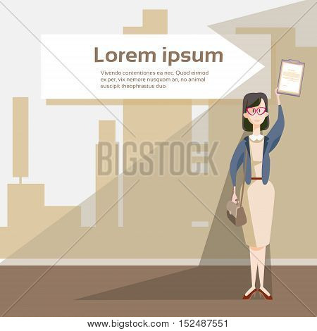 Business Woman Hold Document Folder Contract Agreement Flat Vector Illustration