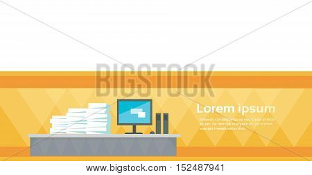 Modern Office Interior Workplace Empty Chair Desk Stacked Paper Document Lot Paperwork Flat Vector Illustration