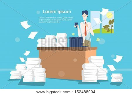 Business Man Office Interior Desk Stacked Paper Document Paperwork Flat Vector Illustration