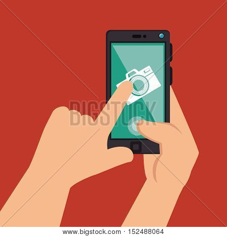 hands holds smartphone camera picture design, vector illustration graphic