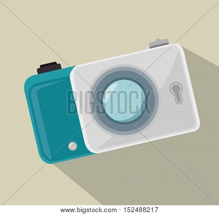 digital white photo camera and shadow design, vector illustration graphic