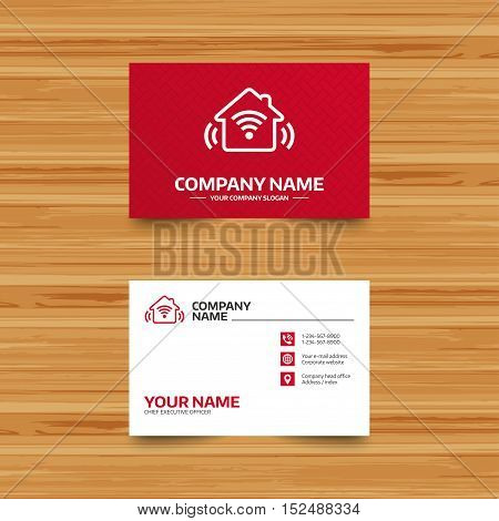 Business card template. Smart home sign icon. Smart house button. Remote control. Phone, globe and pointer icons. Visiting card design. Vector
