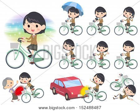 School Girl Brown Blazer Ride On City Bicycle