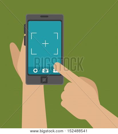hand hold phone capture photo design, vector illustration graphic