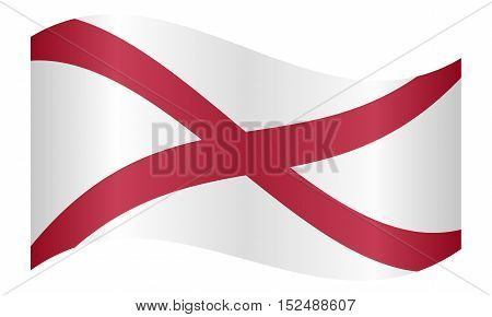 Alabamian official flag symbol. American patriotic element. USA banner. United States of America background. Flag of the US state of Alabama waving on white background vector