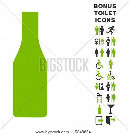 Beer Bottle icon and bonus male and lady restroom symbols. Vector illustration style is flat iconic bicolor symbols, eco green and gray colors, white background.