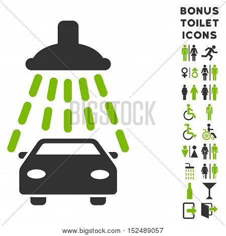 Car Shower icon and bonus man and lady toilet symbols. Vector illustration style is flat iconic bicolor symbols, eco green and gray colors, white background.