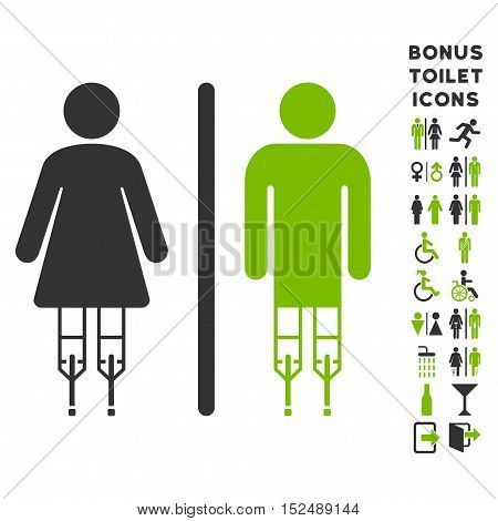 Disabled WC Persons icon and bonus man and woman WC symbols. Vector illustration style is flat iconic bicolor symbols, eco green and gray colors, white background.