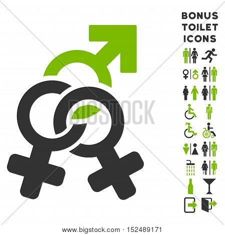 Double Mistress icon and bonus male and woman toilet symbols. Vector illustration style is flat iconic bicolor symbols, eco green and gray colors, white background.