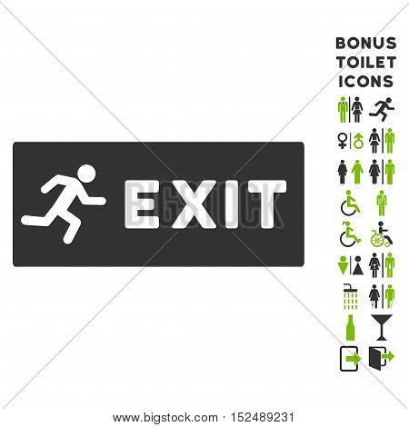 Emergency Exit icon and bonus man and woman toilet symbols. Vector illustration style is flat iconic bicolor symbols, eco green and gray colors, white background.