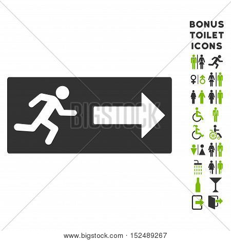 Emergency Exit icon and bonus male and lady restroom symbols. Vector illustration style is flat iconic bicolor symbols, eco green and gray colors, white background.