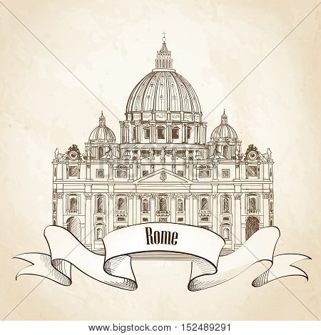 St. Peter's Cathedral, Rome, Italy. Hand drawn engraving sketch  illustration isolated on old paper background. Saint Pietro Basilica.