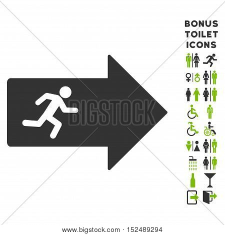 Exit Arrow icon and bonus gentleman and female toilet symbols. Vector illustration style is flat iconic bicolor symbols, eco green and gray colors, white background.