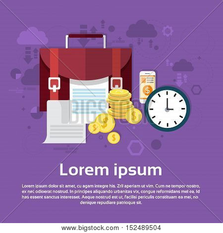 Business Briefcase With Documents Money Web Banner Flat Vector Illustration