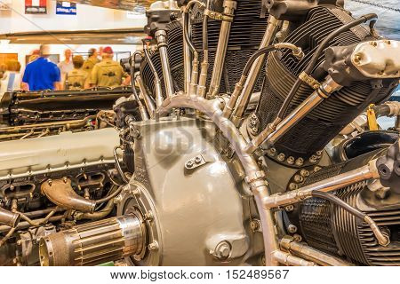 Closeup view of a vintage airplain engine from a WWII aircraft.