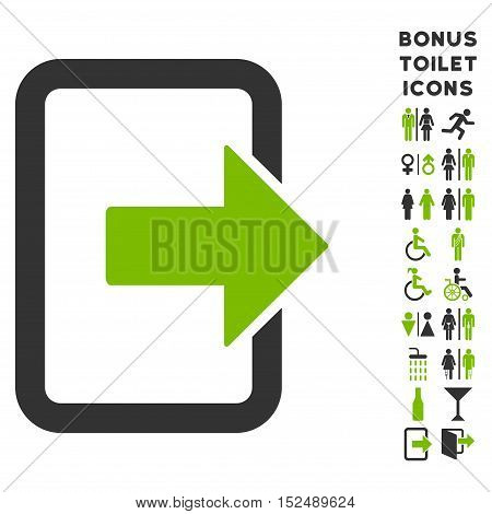 Exit Door icon and bonus man and female WC symbols. Vector illustration style is flat iconic bicolor symbols, eco green and gray colors, white background.