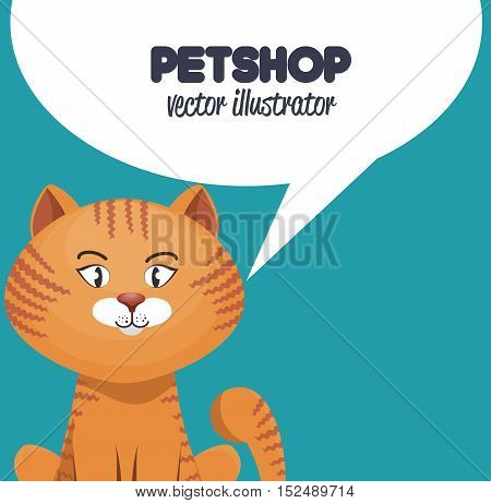 kitty with bubble speech pet shop icon vector illustration eps 10