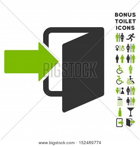 Exit Door icon and bonus man and woman toilet symbols. Vector illustration style is flat iconic bicolor symbols, eco green and gray colors, white background.