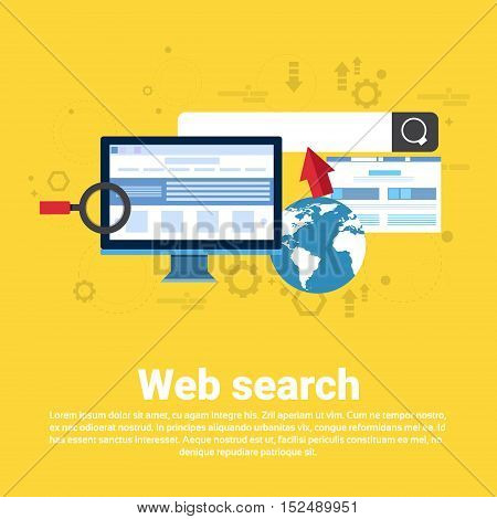 Web Search Digital Content Information Technology Business Web Banner Flat Vector Illustration