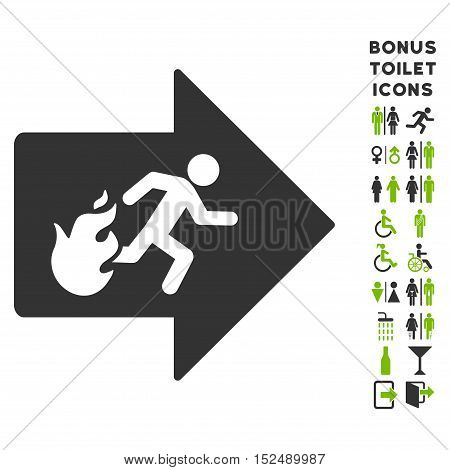 Fire Exit icon and bonus man and woman toilet symbols. Vector illustration style is flat iconic bicolor symbols, eco green and gray colors, white background.