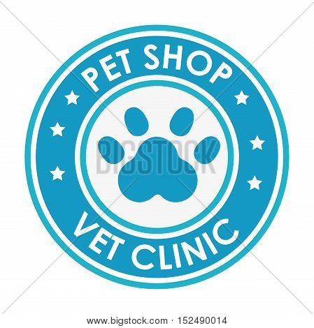 stamp pet shop vet clinic with blue paw vector illustration eps 10