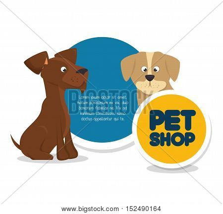 pet shop template and dogs vector illustration eps 10