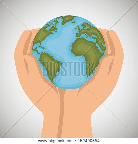 hand holds world earth icon design vector illustration eps 10