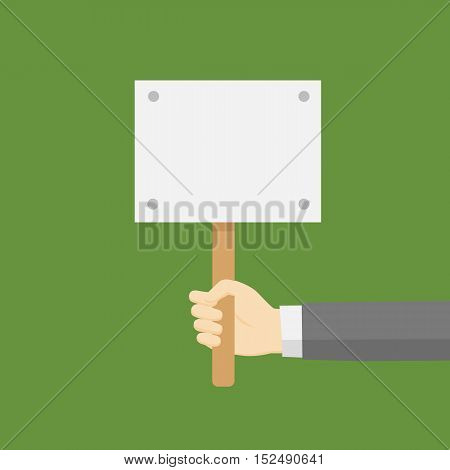 Flat Style Design of Hand Holding A Blank Placard