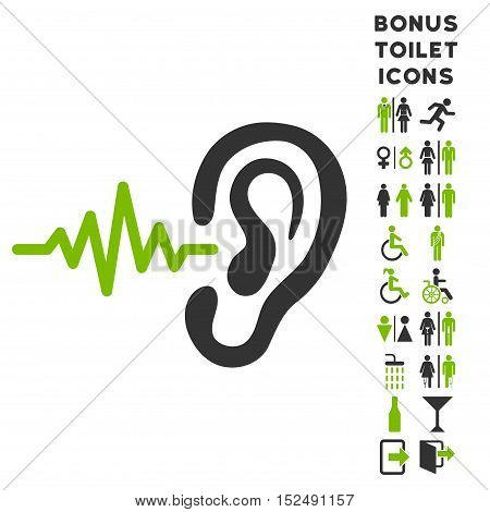 Listen Ear icon and bonus gentleman and female restroom symbols. Vector illustration style is flat iconic bicolor symbols, eco green and gray colors, white background.