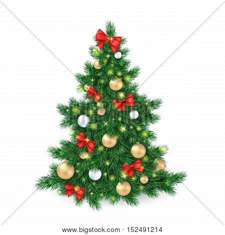 vector illustration of big christmas tree, decorated white and golden christmas ornaments and red ribbon bows.