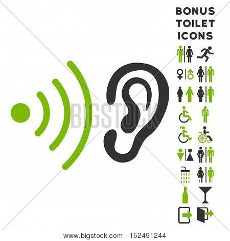 Listen News icon and bonus gentleman and woman WC symbols. Vector illustration style is flat iconic bicolor symbols, eco green and gray colors, white background.