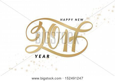 vector new 2017 year greetings poster with hand lettering number.
