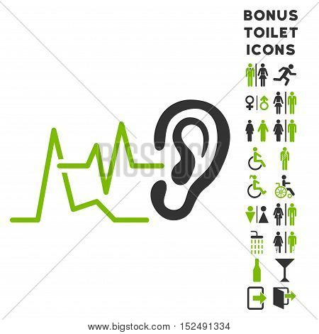 Listen Signals icon and bonus male and lady lavatory symbols. Vector illustration style is flat iconic bicolor symbols, eco green and gray colors, white background.