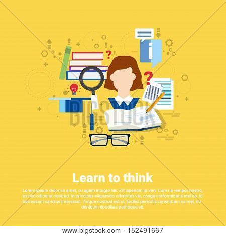 Learting To Think Education Online Web Banner Flat Vector Illustration