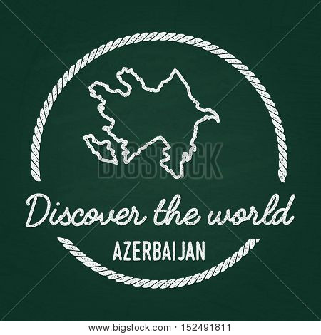 White Chalk Texture Hipster Insignia With Republic Of Azerbaijan Map On A Green Blackboard. Grunge R