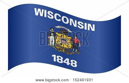 Wisconsinite official flag symbol. American patriotic element. USA banner. United States of America background. Flag of the US state of Wisconsin waving on white background vector