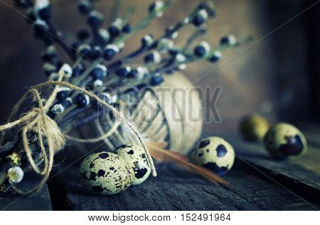 dry twigs of willow with buds on them, the texture on the old wooden background