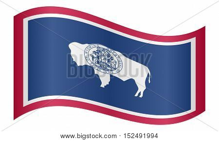 Wyomingite official flag symbol. American patriotic element. USA banner. United States of America background. Flag of the US state of Wyoming waving on white background vector