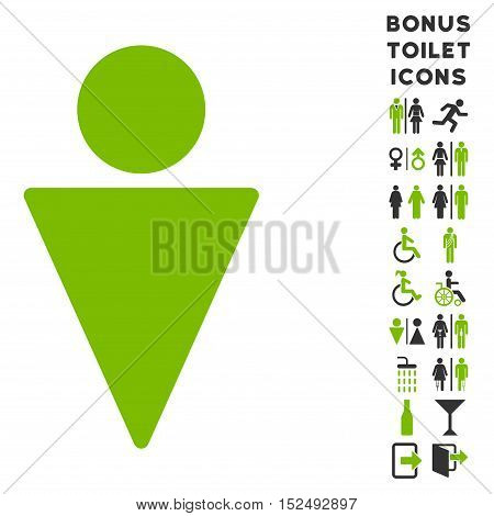 Man icon and bonus gentleman and woman WC symbols. Vector illustration style is flat iconic bicolor symbols, eco green and gray colors, white background.