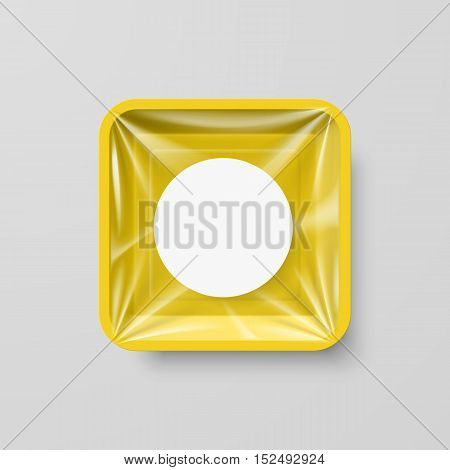 Empty Yellow Plastic Food Square Container with Round Label