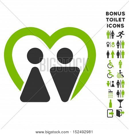 Marriage icon and bonus man and lady toilet symbols. Vector illustration style is flat iconic bicolor symbols, eco green and gray colors, white background.
