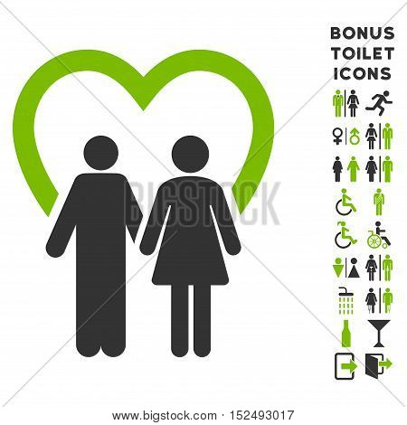 Marriage icon and bonus man and female WC symbols. Vector illustration style is flat iconic bicolor symbols, eco green and gray colors, white background.