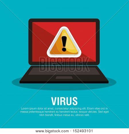 laptop virus warning concept vector illustration eps 10
