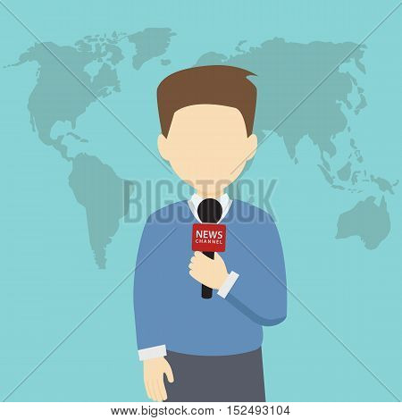 reporter holding microphone with world map background