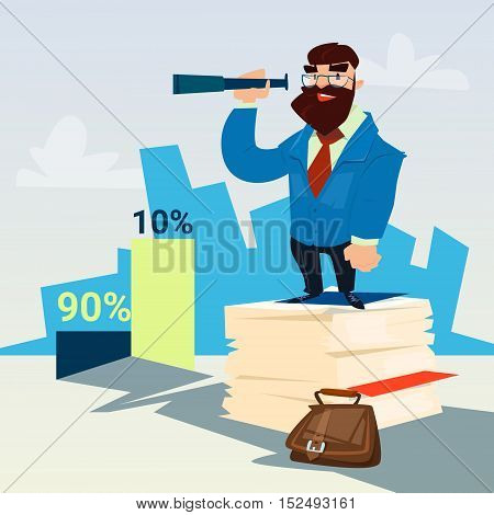 Successful Business Man Hold Binocular Finance Success Graph Flat Vector Illustration