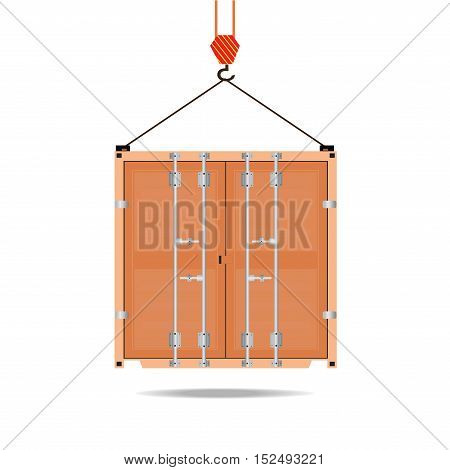 Logistic icon crane hook container isolated on white flat design vector illustration.